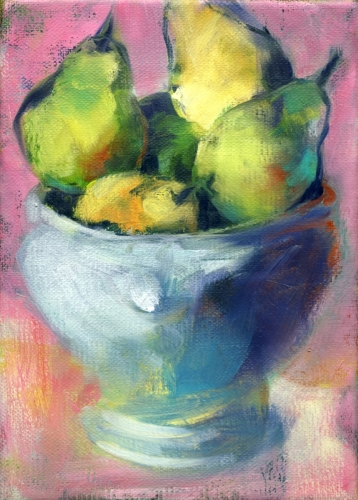 The White Bowl Pears study 8 by Carol Tippit Woolworth