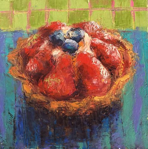 Strawberry Cream Tart with Blueberries