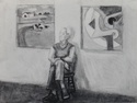Charcoal study for Morris in his Studio