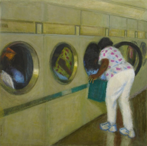 Woman unloading Dryer (large view)
