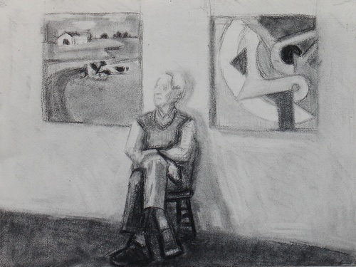 Charcoal study for Morris in his Studio (large view)