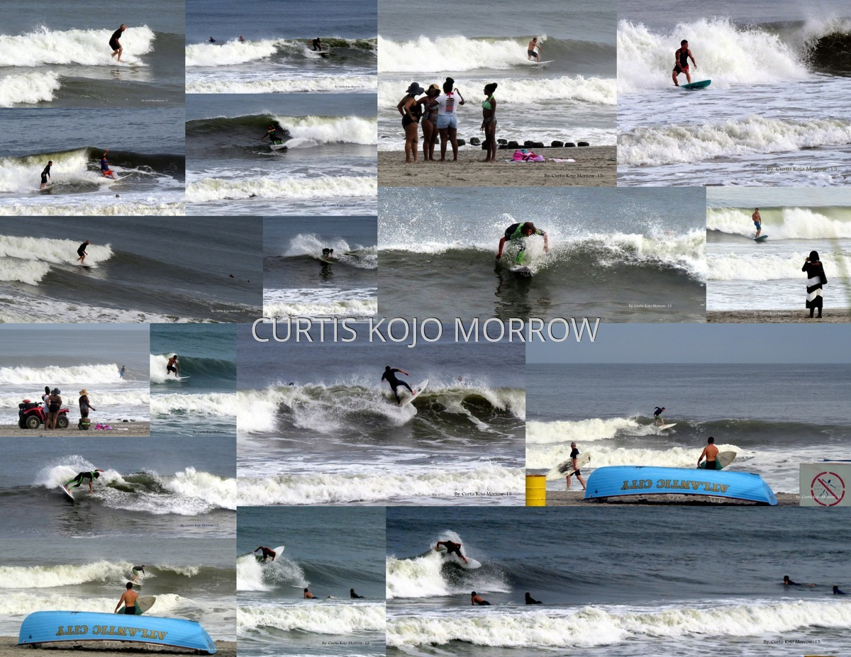 Collage of Surfers at Atlantic City NJ (large view)