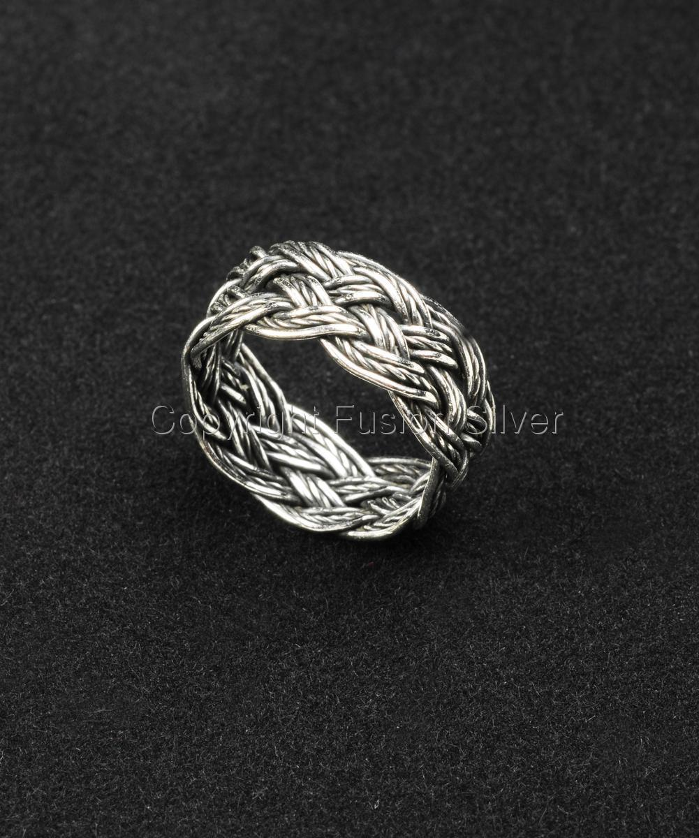 Turk's Head Silver Oxidized Ring (large view)