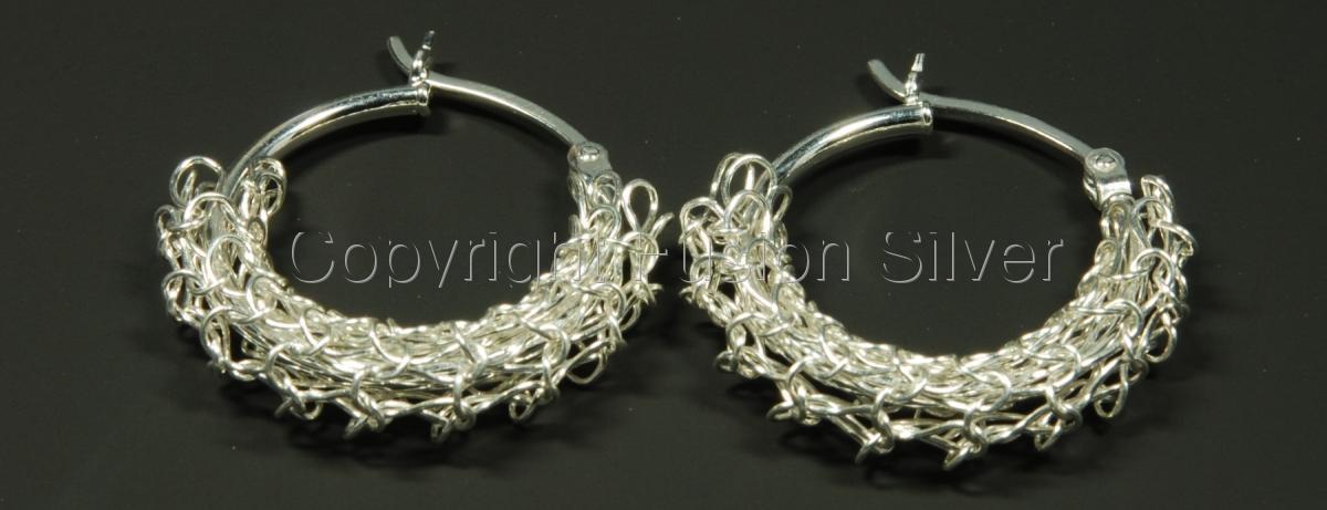 Crocheted Earrings - 20 mm hoops (large view)