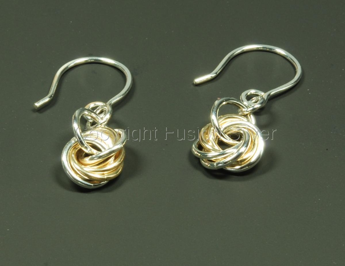 Small 2 tone mobius earrings (large view)