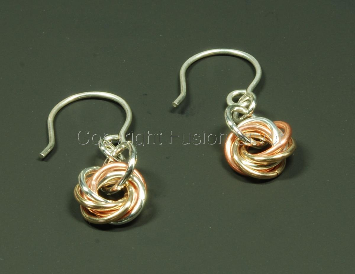 Small, 3 tone, mobius earrings (large view)