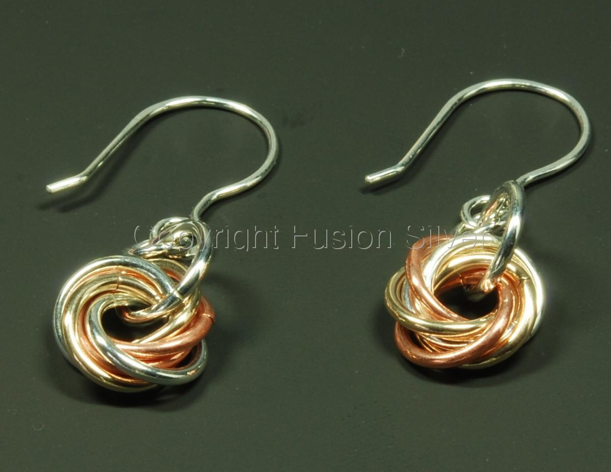 Medium Mobius 3 tone earrings (large view)