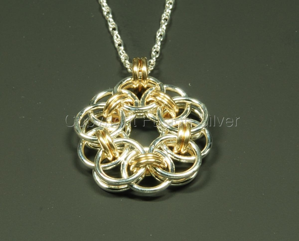 2 tone Helm Flower pendant - small (large view)