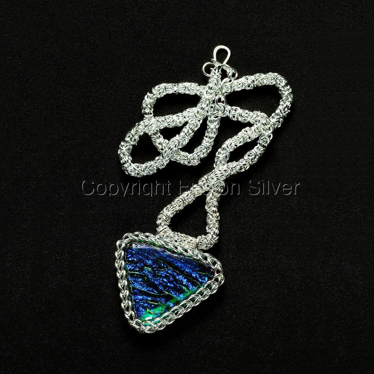 Byzantine Necklace with Dichroic Glass Pendant (large view)