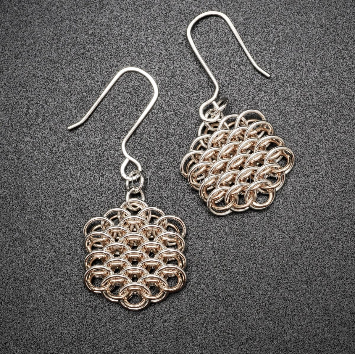 Dragon Scale Earrings - 2 Tone Earrings , Silver Prominent (large view)