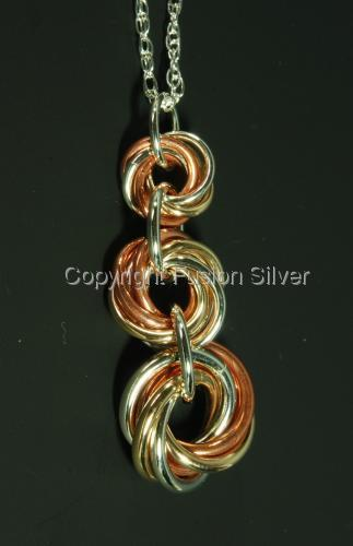 Mobius Pendant - 3 tone - 3 stack (large view)