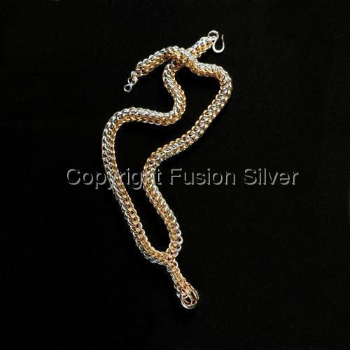 Two Tone Full Persian Necklace with Graduated Drop by Fusion Silver