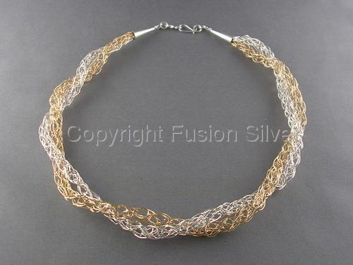 Gold and Silver 5 Star Knit Necklace (large view)