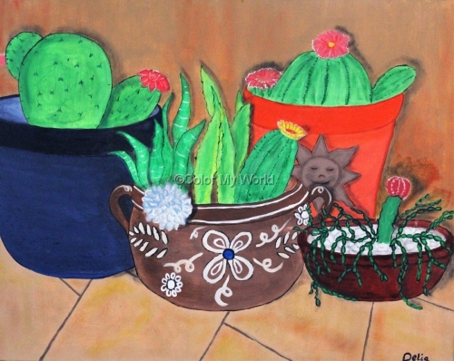 Cacti in Mexican Pottery