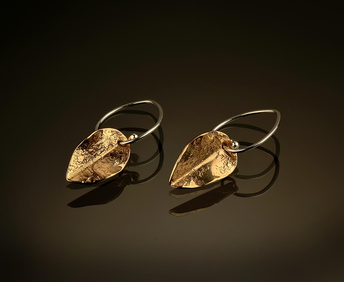 Bronze Leaf Earrings (large view)