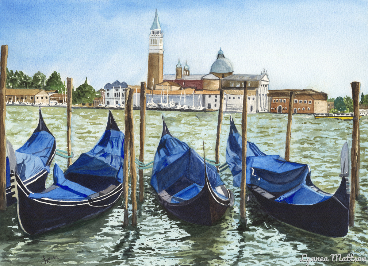 Gondolas on the Grand Canal (large view)