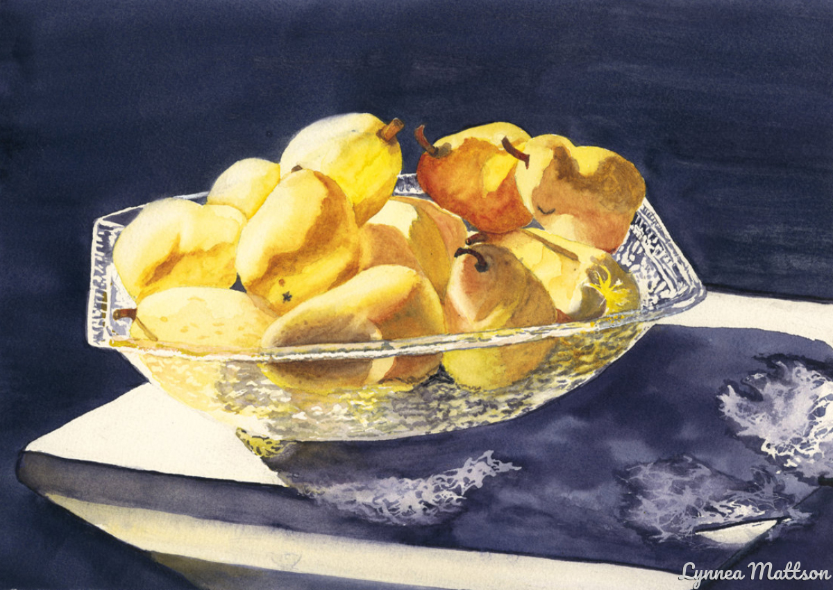 Crystal Bowl of Pears (large view)