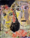 Acrylic, Charcoal and graphite painting on paper of two whimsical faces. (thumbnail)