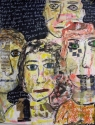 Mixed Media Painting of four staring faces on blackboard background with white writing. (thumbnail)