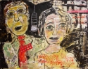 Mixed Media narrative painting of a man and a woman behind a microphone, on paper, unframed. (thumbnail)