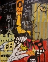 Mixed Media Outsider Painting with striped face against a blackboard background with a polka dot chair, dog, urban buildings and hand. (thumbnail)