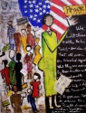 Acrylic & Collage painting of figures holding peace signs, with the American flag and the Declaration of Independence in the background, on wood panel. (thumbnail)