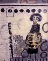 Woman wearing a gas mask, black and white, writing, dots. . (thumbnail)