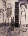 Four primitively drawn figures, and a dog and writing, black and white. (thumbnail)