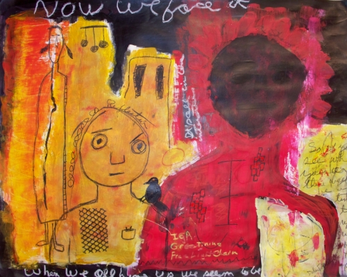 Acrylic and charcoal painting of symbolic primitive figures, abstract and in the outsider genre. (large view)