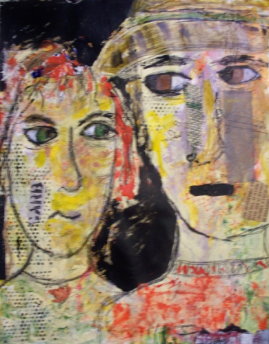 Acrylic, Charcoal and graphite painting on paper of two whimsical faces. (large view)