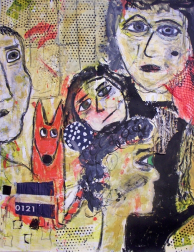 Mixed Media painting of worried faces and a red dog on paper, unframed. (large view)