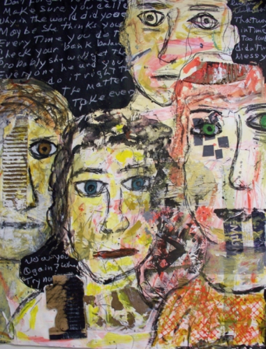 Mixed Media Painting of four staring faces on blackboard background with white writing.  (large view)