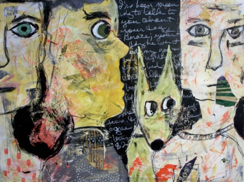 Mixed Media narrative painting of 3 large heads and a green dog (large view)