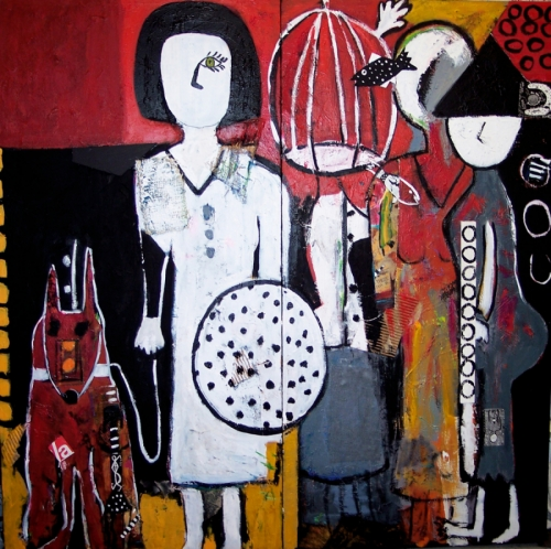 Acrylic and collage diptych on canvas, with 3 women, one with birdcage head, a dog, a fish, and a white circle with black polka dots.  (large view)