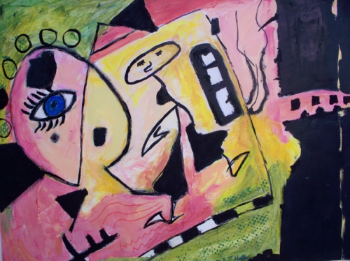 Surreal acrylic painting of a large face with one eye and a dancing stick figure on pink, peach green and black background.  (large view)