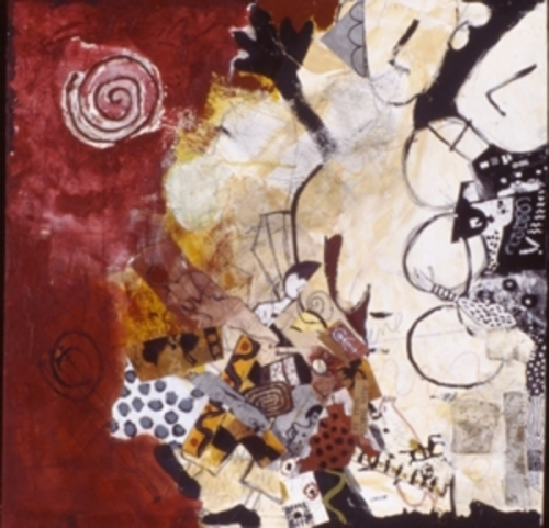 Abstract primitive figurative painting of figures on canvas. (large view)