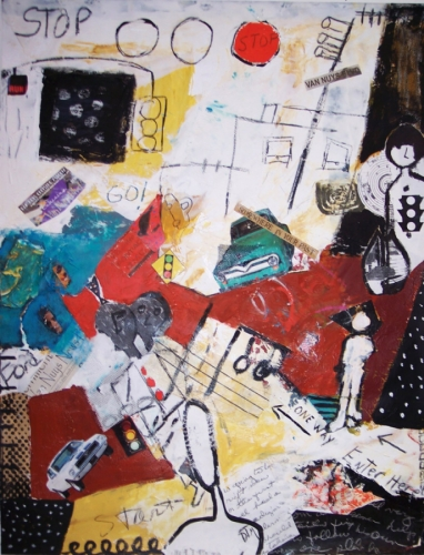 Acrylic & collage painting of cars, figures, street signs, stoplights on paper, gallery framed (large view)