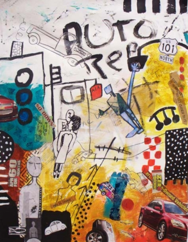 Acrylic & collage painting of figures & cars and street signs, on paper.   (large view)