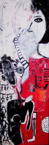 Acrylic painting of two figures in red, black & white.   (large view)