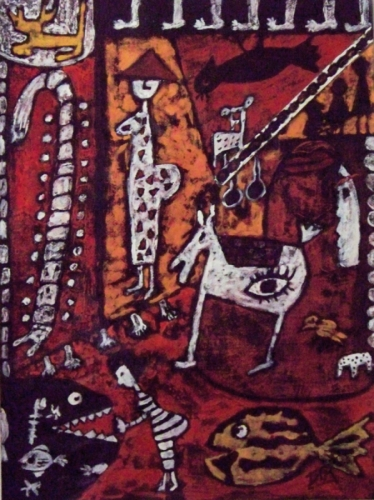 Aboriginal style fantasy watermedial painting on Paper, unframed   (large view)