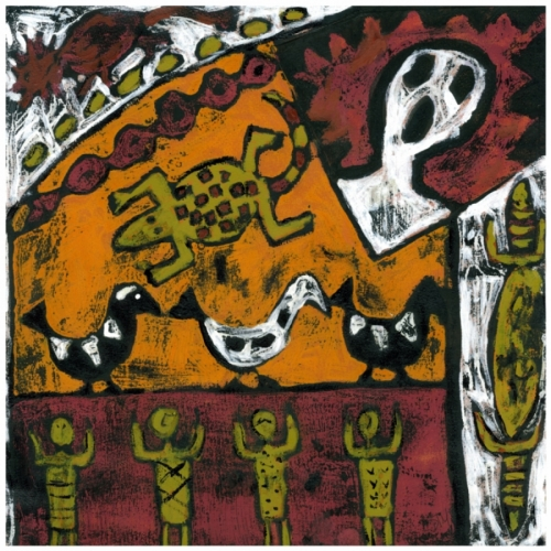 Aboriginal style watermedia figurative painting on canvas. (large view)
