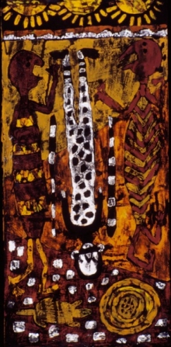 Aboriginal style painting of 3 figures, one upside down, on paper, unframed.  (large view)