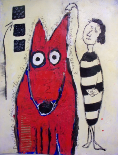 Red Dog with black and white striped primitive figure (large view)