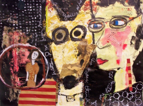 Abstract primitive figurative painting on paper on blackboarad type background of a big yellow dog, prmitive face, glasses, figure in a circle, red stripes. face and primitive figure with polka dots.  (large view)