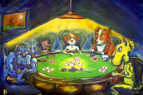 Canines with colored cards