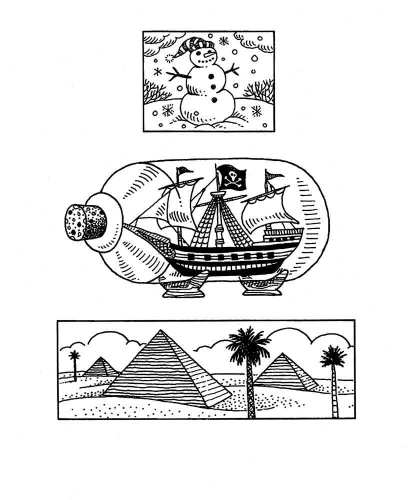 Snowman Ship and Pyramids