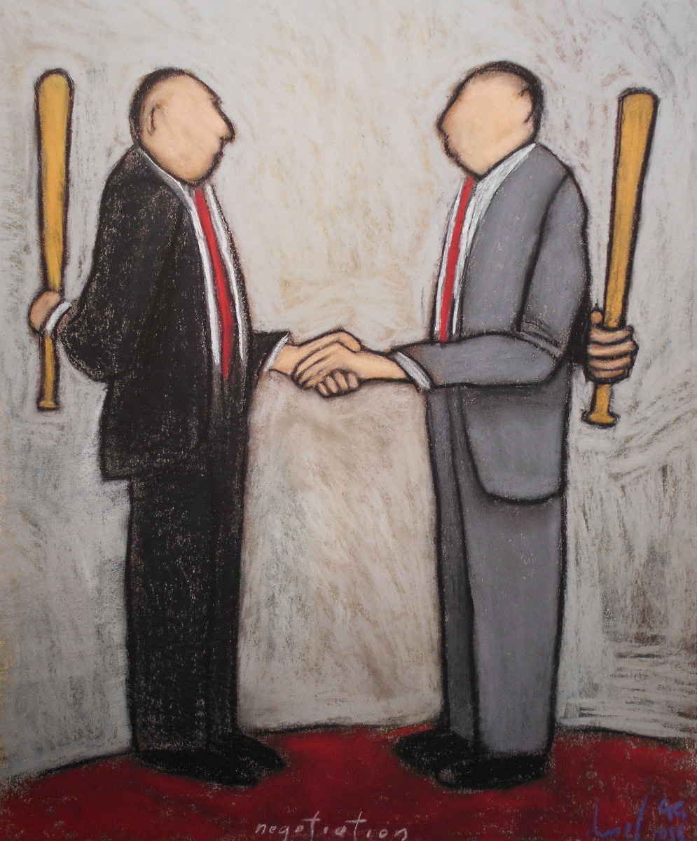 Satire pastel paintings negotiation by david ross for Artist mural contract