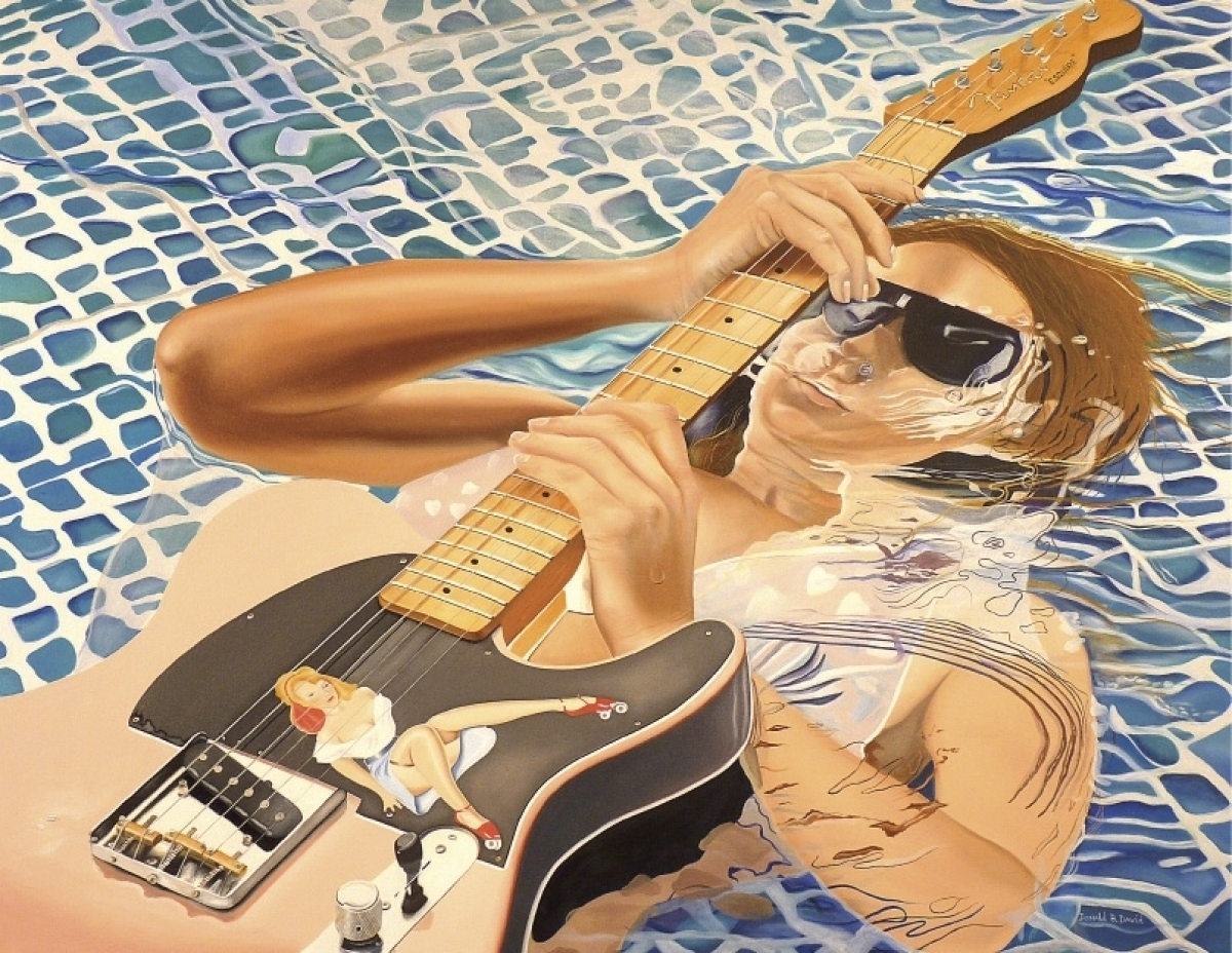 You know the rules, guitars don't go in water...until now. This beautiful babe takes a this vintage fender where no fender should go - to the pool. (large view)