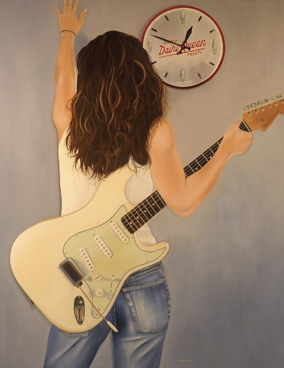 A great view of a beautiful woman holding an even more beautiful 1962 Fender Stratocaster captured by Artist Donald B. David (large view)