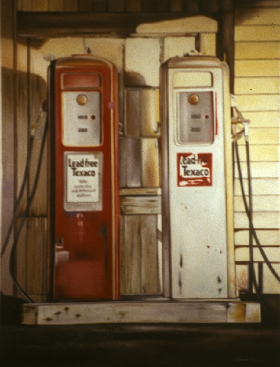 Don't forget the beauty in the old fashioned gas pumps so beautifully captured in this oil painting by artist Donald B. David. (large view)